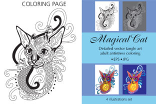 Coloring Page for Adult Magical Cat Graphic Coloring Pages & Books Adults By Alinart