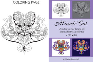 Coloring Page for Adult Miracle Cat Graphic Coloring Pages & Books Adults By Alinart