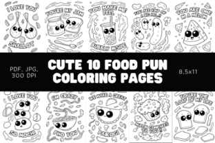 Print on Demand: Cute 10 Food Pun Coloring Pages - KDP Graphic Coloring Pages & Books By Sundiva Design