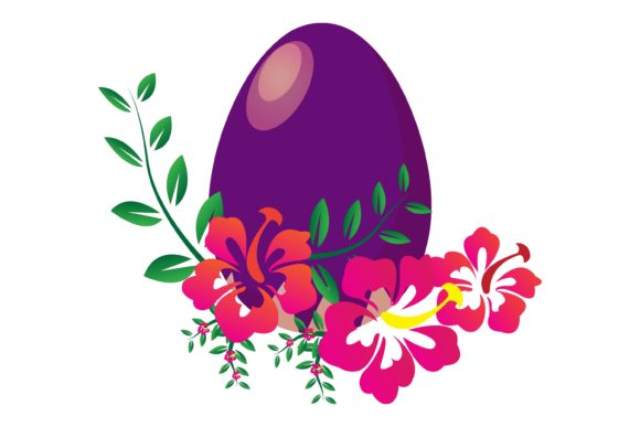 Easter Egg Flowers Illustration Graphic Illustrations By garnetastudio
