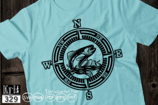 Fishing Compass with Trout Fish Graphic Logos By Krit-Studio329