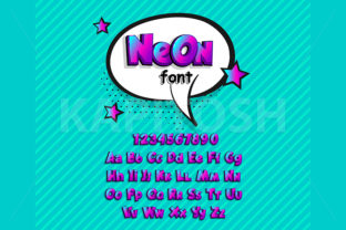 Neon Lowercase and Uppercase Comic Font Graphic Illustrations By Kapitosh