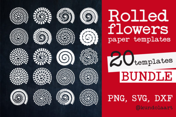 Rolled Flower Paper Template SVG. Graphic Crafts By KundolaArt