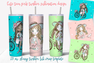 Skinny Tumbler Cute Teen Girls Graphic Print Templates By grigaola