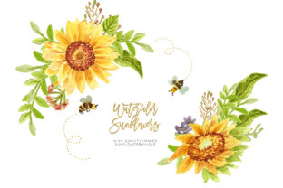Print on Demand: Sunflower Clipart, Bee and Sunflower Graphic Illustrations By SunflowerLove
