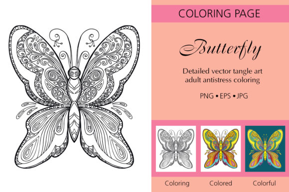 Tangled Butterfly Coloring for Adult Graphic Coloring Pages & Books Adults By Alinart