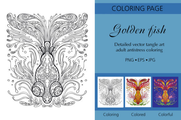 Tangled Coloring Fish Printed Design. Graphic Coloring Pages & Books Adults By Alinart