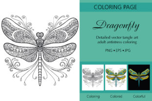 Tangled Dragonfly Coloring Graphic Coloring Pages & Books Adults By Alinart