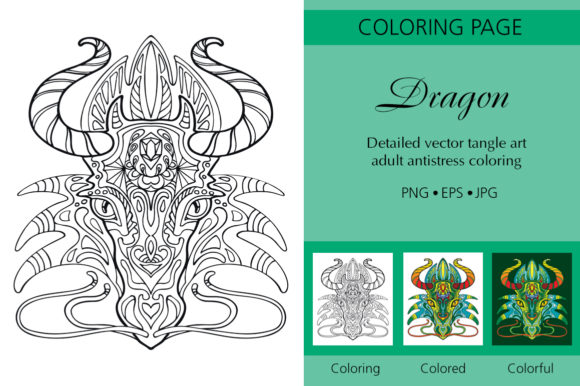 Tangled Dragon's Head Coloring for Adult Graphic Coloring Pages & Books Adults By Alinart