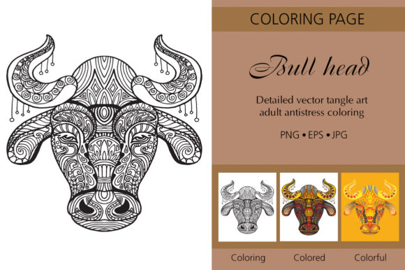 Tangled Head of Bull Printed Design Graphic Coloring Pages & Books Adults By Alinart