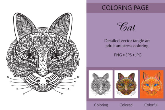 Tangled Head of Cat Coloring for Adul Graphic Coloring Pages & Books Adults By Alinart