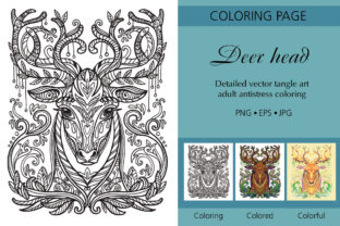 Tangled Head of Deer Printed Design. Graphic Coloring Pages & Books Adults By Alinart 1