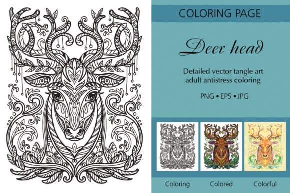 Tangled Head of Deer Printed Design. Graphic Coloring Pages & Books Adults By Alinart