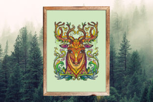 Tangled Head of Deer Printed Design. Graphic Coloring Pages & Books Adults By Alinart 3