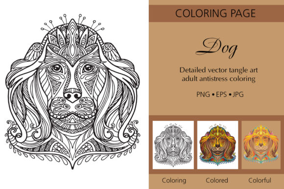 Tangled Head of Dog Coloring for Adult Graphic Coloring Pages & Books Adults By Alinart