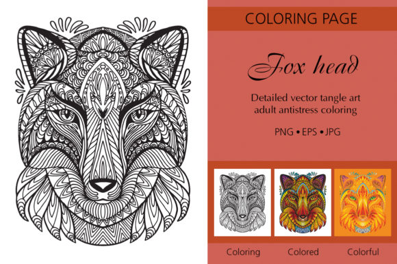 Tangled Head of Fox Printed Design. Graphic Coloring Pages & Books Adults By Alinart