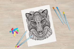 Tangled Head of Fox Printed Design. Graphic Coloring Pages & Books Adults By Alinart 2