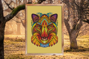 Tangled Head of Fox Printed Design. Graphic Coloring Pages & Books Adults By Alinart 3