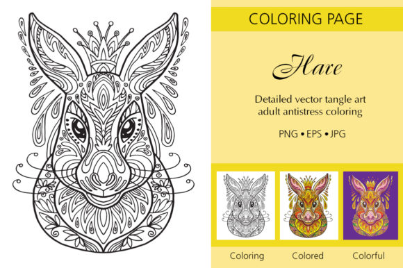 Tangled Head of Hare Coloring for Adult Graphic Coloring Pages & Books Adults By Alinart