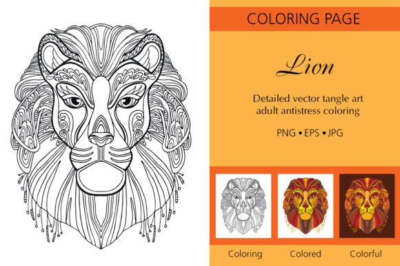 Tangled Head of Lion Coloring for Adult Graphic Coloring Pages & Books Adults By Alinart