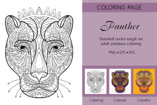 Tangled Head of Panther Coloring Graphic Coloring Pages & Books Adults By Alinart