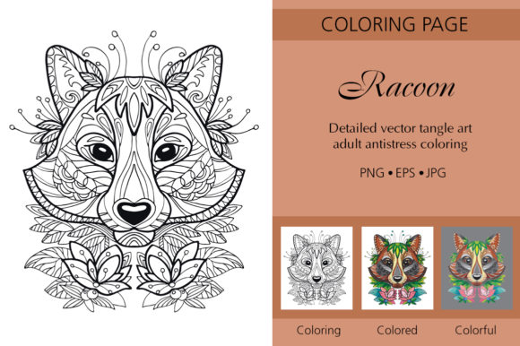 Tangled Head of Racoon Adult Coloring Graphic Coloring Pages & Books Adults By Alinart