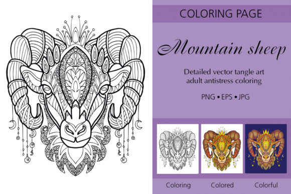 Tangled Head of Sheep Coloring for Adult Graphic Coloring Pages & Books Adults By Alinart