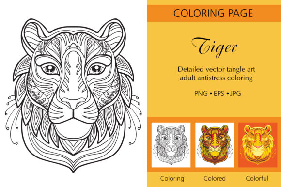Tangled Head of Tiger Coloring for Adult Graphic Coloring Pages & Books Adults By Alinart