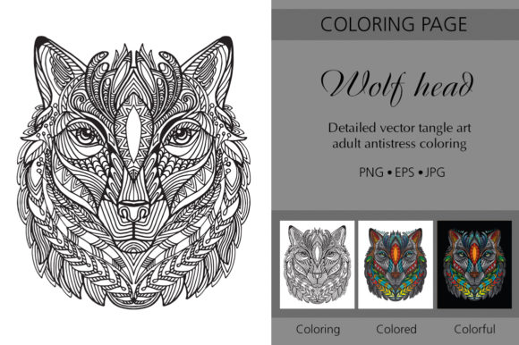 Tangled Head of Wolf Printed Design. Graphic Coloring Pages & Books Adults By Alinart