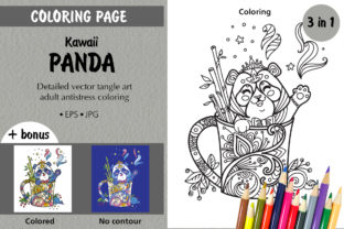 Tangled Kawaii Panda in Cup Coloring Graphic Coloring Pages & Books Adults By Alinart