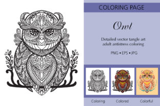 Tangled Owl Coloring for Adult Graphic Coloring Pages & Books Adults By Alinart