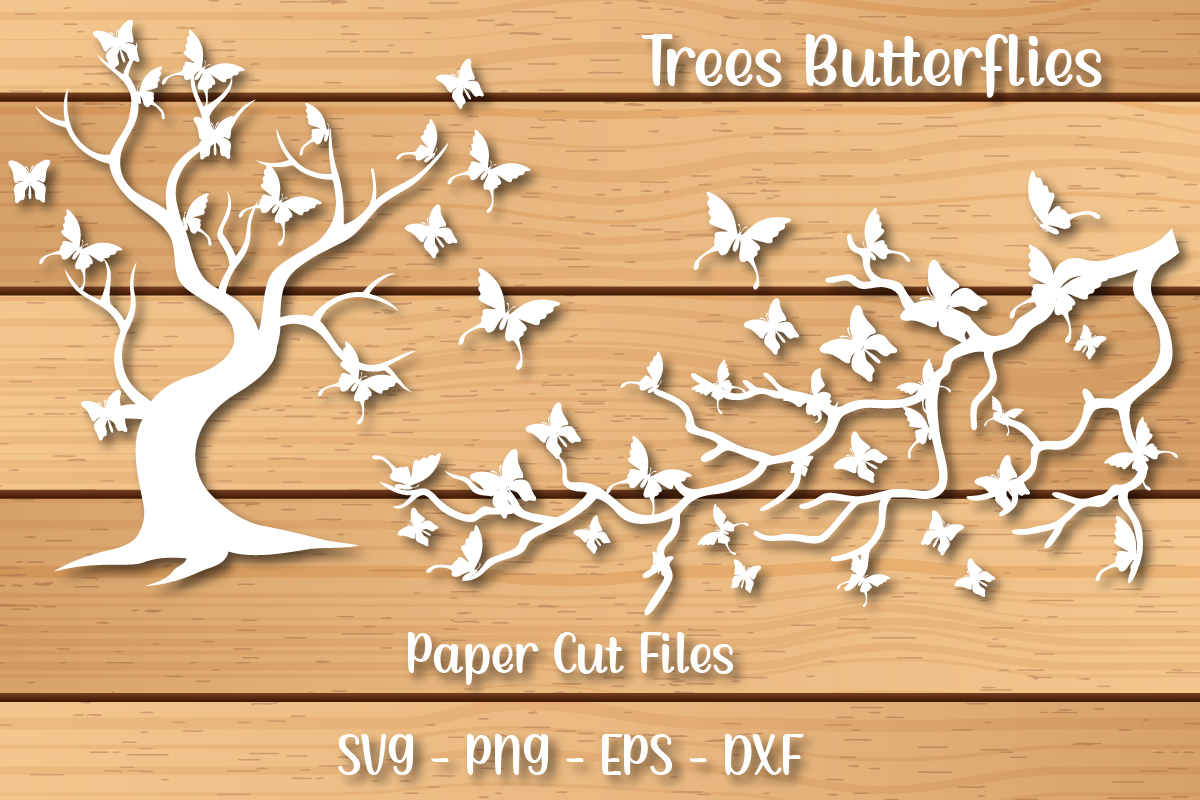 Trees of Butterflies Paper Cutting Files SVG File