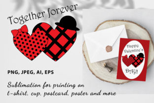 Print on Demand: Two Red Hearts - Printable Sublimation Graphic Illustrations By ladyangelika71