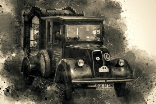 Print on Demand: Vintage Car Printables Pack 01 Graphic Illustrations By The leaves river
