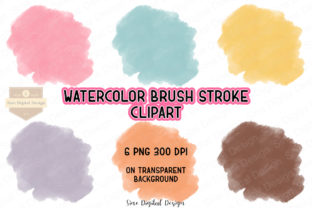 Print on Demand: Watercolor Brush Stroke Clip Art Set Graphic Illustrations By SineDigitalDesign