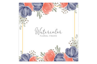 Print on Demand: Watercolor Cute Flower Square Border Graphic Illustrations By elsabenaa