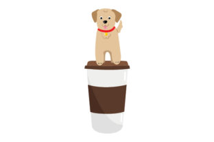 Dog Sitting on Coffee Cup Animals Craft Cut File By Creative Fabrica Crafts