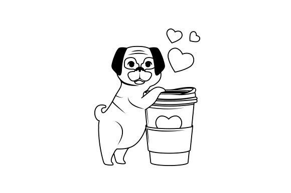 Dog Hugging Coffee Cup Cut File Download