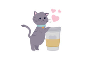 Cat Hugging Coffee Cup Animals Craft Cut File By Creative Fabrica Crafts