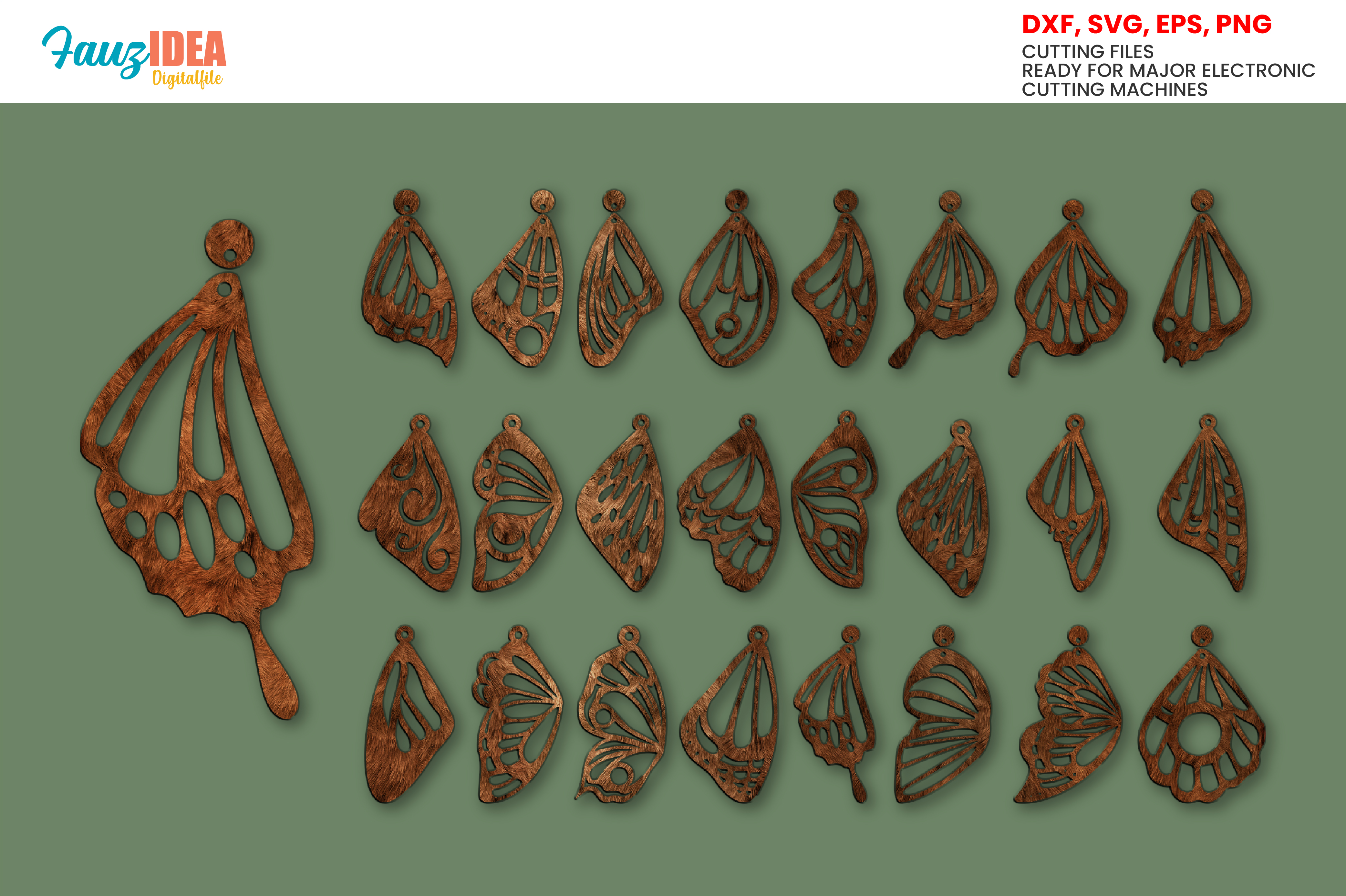 24 Butterfly Wing Earrings Templates SVG File