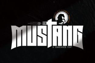 Print on Demand: Black Mustang Display Font By Line creative
