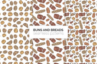 Buns and Breads Seamless Patterns Graphic Patterns By 3Y_Design