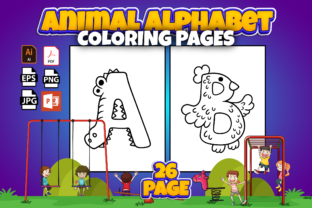 Print on Demand: Cute Animal Alphabet Coloring Pages Graphic KDP Interiors By Cute Coloring
