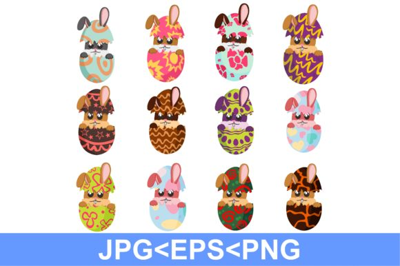 Print on Demand: Easter Egg Bunny Art Bundle Graphic Crafts By Arief Sapta Adjie