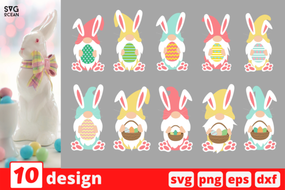 Easter Gnome SVG Bundle Graphic Print Templates By SvgOcean