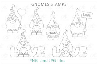 Print on Demand: Gnome Valentine Digital Stamps Graphic Illustrations By AS Digitale