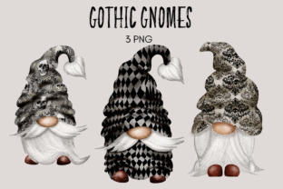 Print on Demand: Gothic Watercolor Gnome Clipart Graphic Illustrations By Celebrately Graphics