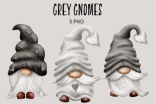 Print on Demand: Grey Watercolor Gnome Clipart Graphic Illustrations By Celebrately Graphics