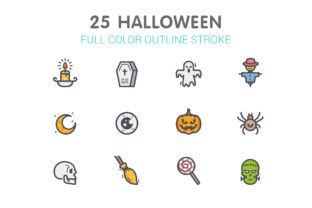 Halloween Line with Color Icons Graphic Icons By Ctrl[A]Studio