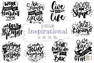 Inspirational Lettering Quotes Bundle Graphic Crafts By dapiyupi